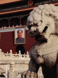 Imperial Lion Statue and Portrait of Mao at Tiananmen Square, Beijing, China Photographic Print by Diana Mayfield
