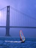 Sailboarder and Golden Gate Bridge, San Francisco, California, USA Photographic Print by Roberto Gerometta
