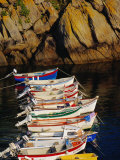 Row of Fishing Boats Moored in a Small Harbour Near Plouhinec, Cape Sizun, Brittany, France Photographic Print by Jean-Bernard Carillet