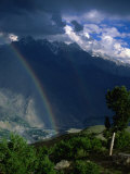 Rainbow in Valley, Chitral Gol National Park, North-West Frontier Province, Pakistan Photographic Print by Jane Sweeney