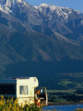 Woman Reading Map in Campervan with Mountain Behind, Kaikoura, New Zealand Photographic Print by Philip & Karen Smith