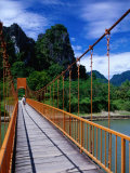 Footbridge Over Nam Sot River, Vang Vieng, Laos Photographic Print by Ryan Fox