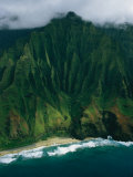 Aerial View of a Beach at the Base of a Lush South Pacific Mountain Photographic Print by Ira Block