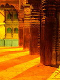 Carved Columns of the Jagannarayan Temple in Patan Illuminated at Night, Patan, Nepal Photographic Print by Ryan Fox