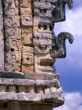 Chac Masks Carved in Stone on Exterior Walls of Temple in the Nunnery Quadrangle, Uxmal, Mexico Lámina fotográfica por John Elk III
