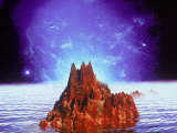 Mountain and Ocean in Space Lmina fotogrfica por Ron Russell