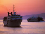 Ferry & Marine Traffic at Mykonos Harbor, Greece Photographic Print by Walter Bibikow