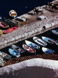 Overhead of Fishing Boats Lined Up in Hydra Harbour, Hydra Town, Greece Photographic Print by Rodney Hyett