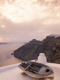 Boat at Sunset, Santorini, Greece Photographic Print by Walter Bibikow