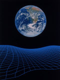Earth Floating Above a Grid Photographie par Ron Russell