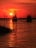 Fishing Boats, Sunset, Rock Harbor, Cape Cod, MA Photographic Print by Ed Langan