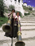 Girls Playing Horns, Potala Palace, Lhasa, Tibet Photographic Print by Bill Bachmann