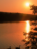 Sunset Over Hopedale Pond &amp; Geese, Hopedale, MA Photographic Print by Ed Langan