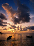 Small Fishing Boats in Water at Sunset, Charlotteville, Trinidad & Tobago Photographic Print by Michael Lawrence