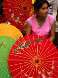Water Dai Woman with Colourful Umbrellas, Xishuangbanna, China Photographic Print by Keren Su