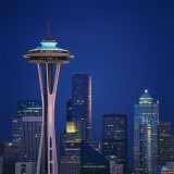 Space Needle and Seattle Skyline at Night Photographic Print by Tom Dietrich