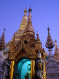 Detail of Buddha Statue at Schwedagon Pagoda, Bagan, Myanmar (Burma) Photographic Print by Ryan Fox