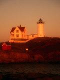 Museum and Portland Head Light House at Cape Elizabeth, Portland, Maine, Portland, USA Fotografisk tryk af Mark Newman