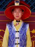 Portrait of Boy in Traditional Manchurian Costume, Chengde, China Photographic Print by Keren Su
