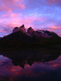 Cuernos Del Paine and Reflection at Dawn, Torres Del Paine National Park, Chile Photographic Print by Brent Winebrenner