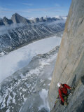 Mountain Climber Ascending Great Sail Peak above Stewart Valley Photographic Print by Gordon Wiltsie