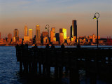 Sunset, Seattle Skyline, Elliot's Bay, Seattle, WA Photographic Print by Jim Corwin
