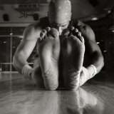 Monochromatic Image of a Boxer Stretching Photographic Print