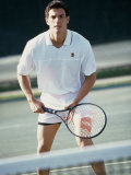 Portrait of a Young Man Playing Tennis Photographic Print