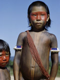 Caipo Indian Girl Painted with Achiote, Xingu River, Brazil Photographic Print