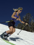 Skiing Downhill in Warm Weather Workout Gear Photographic Print