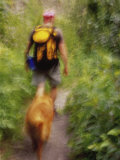 Blurred Image of a Hiker and Dog on a Trail Photographic Print