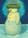 Snowman with Christmas Wreath Photographic Print by Susan Mitchell
