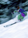 Speeding Skier in Green, Blue and Purple Photographic Print