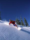 Swiftly Moving Snowboarder Fotografisk trykk