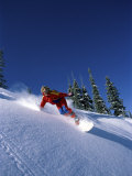 Swiftly Moving Snowboarder Photographic Print