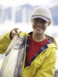 Teen Girl Holding a Fish Photographic Print