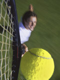 High Angle View of a Man Hitting a Tennis Ball Photographic Print