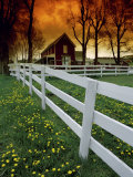 Farmhouse with Sunset Photographic Print