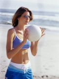 Young Woman Holding a Volleyball Photographic Print