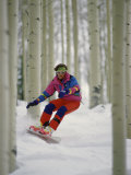 Snowboarder Maneuvering Through Trees Photographic Print