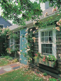 Summer Flower, Doorway, Nantucket, MA Photographic Print by Walter Bibikow