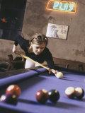 Woman Shooting Pool Photographic Print