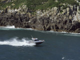 High Angle View of a Motorboat Moving on Water Photographic Print