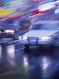 Police Car and Car on Wet Street, NYC Photographic Print by Rudi Von Briel