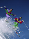 Two Skiers Jumping Simultaneously Photographic Print