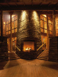 Fireplace in the Lobby of a Hotel Photographic Print