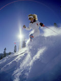 Skier in White with Sunburst Photographic Print