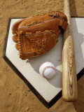 Baseball Bat with a Glove, and a Baseball on the Home Base Photographic Print