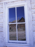 Ghost Town, Old Building with Window Reflection, Bannock, Montana, USA Photographic Print by Darrell Gulin