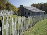 Fence and Cabin, Hensley Settlement, Cumberland Gap National Historical Park, Kentucky, USA Photographic Print by Adam Jones